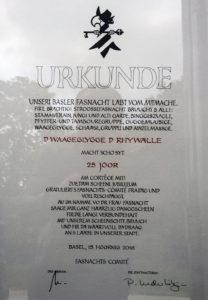 Urkunde Waageclique Rhywälle Basel 1991