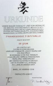 Urkunde 25 Joor Waageclique Rhywälle Basel 1991